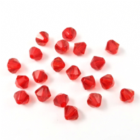 40 Quality Crystal Glass Bicone Beads 8mm Red